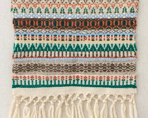 Handwoven Wool Runner Mat Textile Wall Hanging with Fringe Vintage Artisan Made Colorful Ethnic Boho Home