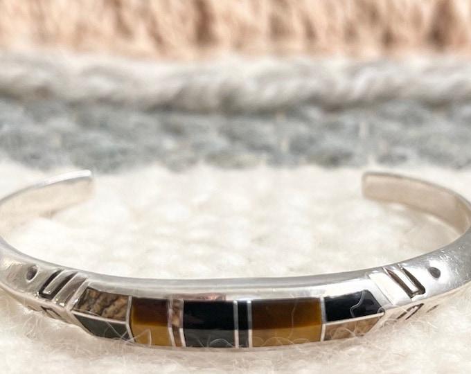 Zuni Tigers Eye Bracelet Cuff Vintage Native American Geometric Flush Inlay Thin Stamped Band