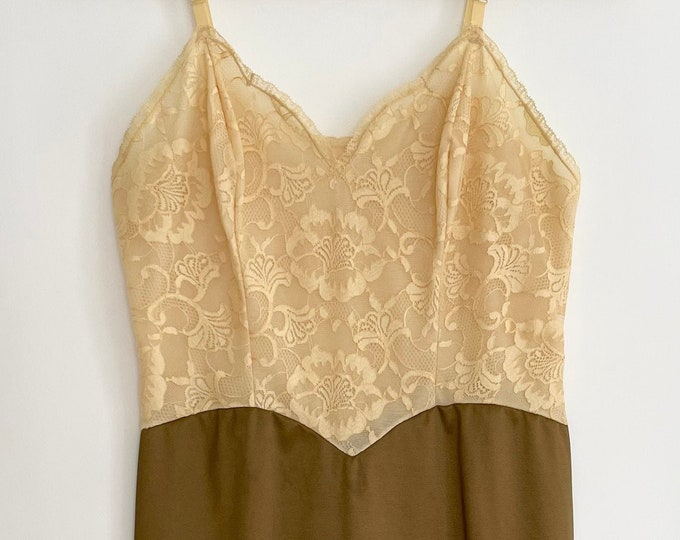Lace Slip Dress Nightie Nightgown Vintage 60s Vanity Fair Made in USA Butter Yellow Lace Chocolate Brown Skirt Adjustable Straps XS 32
