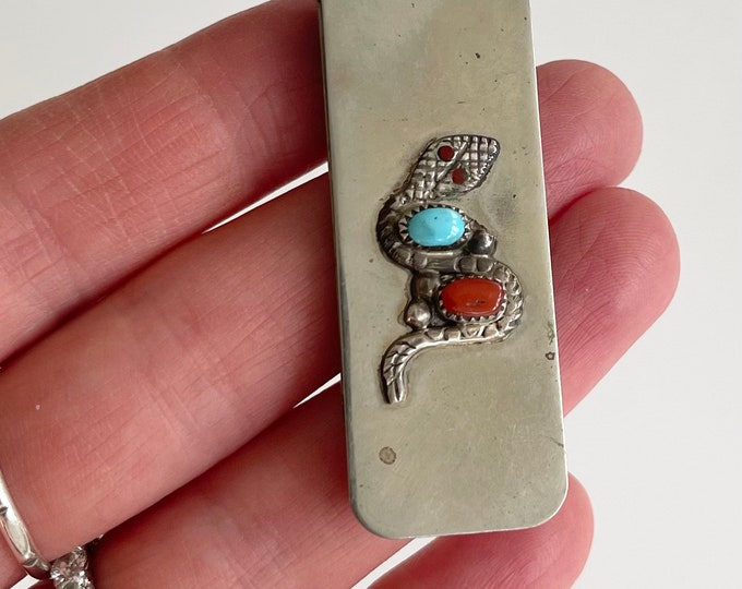 Ray Nieto Money Clip Vintage Native American Navajo Artist Signed Silver Snake Applique Turquoise Red Coral Gift for Him Fathers Day