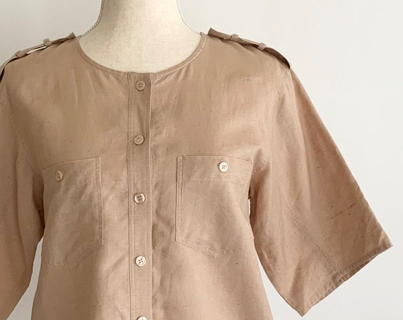 80s Linen Safari Shirt Minimalist Style Vintage Jordan New York Dusty Rose Button Front Short Sleeve Jacket Size XS