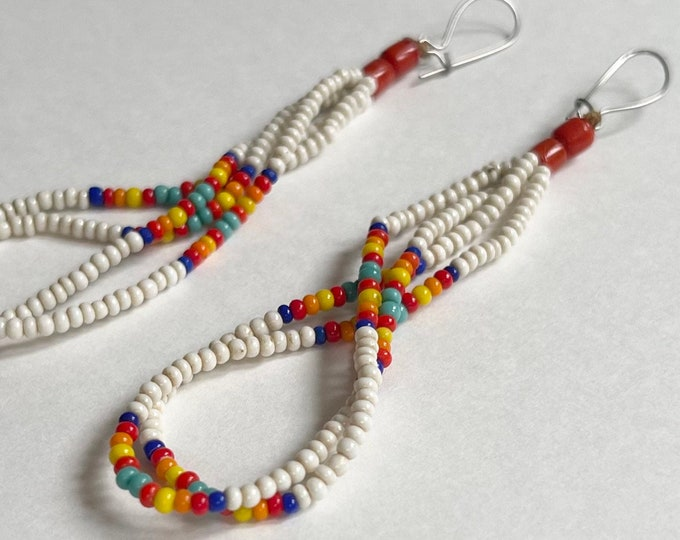 """Delicate Beaded Dangle Earrings Red Coral Tiny Multi Color White Seed Beads Vintage Artisan Crafted Long 3.25"""" Drop Statement Earrings"""