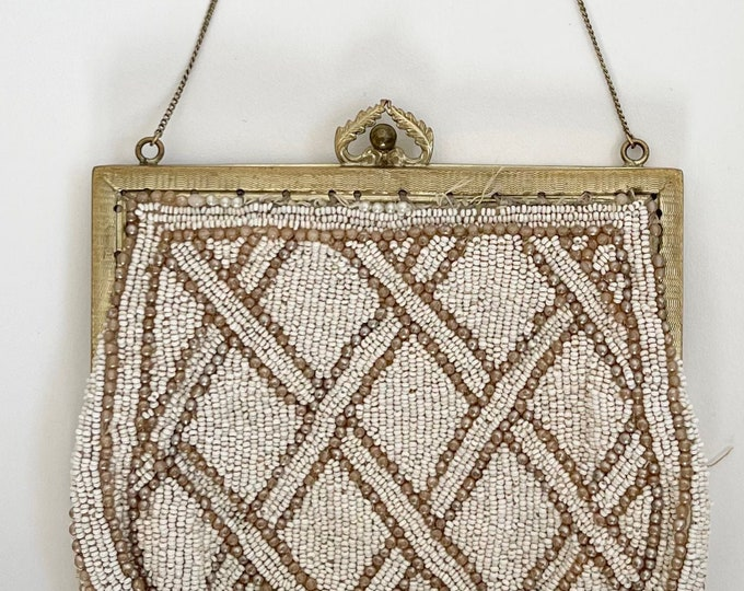 Antique Beaded Wristlet Purse Vintage 40s Tiny Ivory Pearl Seed Beads Delicate Chain Strap Silk Lining