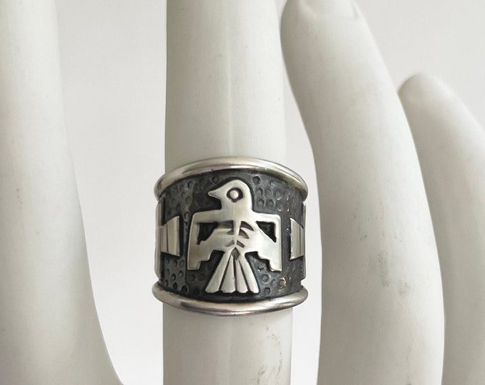 Sterling Silver Thunderbird Band Ring Native American Navajo Wide Cigar Band Biker Ring Style Mens Rings Size 10.5