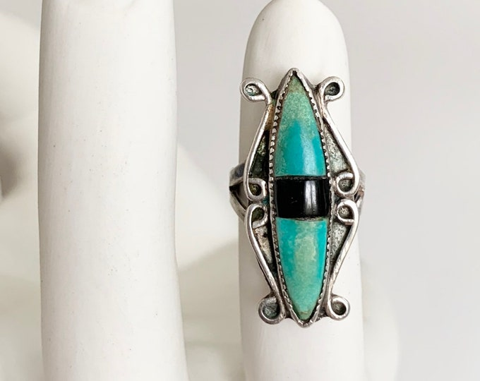 Old Green Turquoise Ring Vintage Native American Sterling Silver Green Turquoise Black Onyx Inlay Size 5.25 5.5