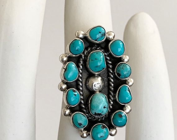 50s Navajo Turquoise Ring Sterling Silver Vintage Native American Artist Signed B Multi Stone Cluster Long Oval Size 7.25 7.5