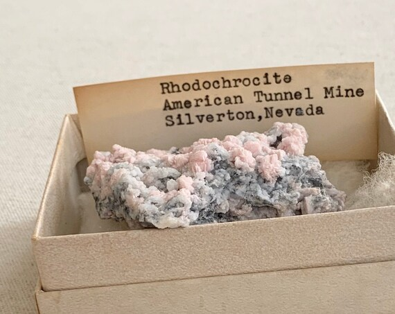 Rhodochrosite Cluster Crystal Specimen Vintage American Tunnel Mine Silverton Nevada Rocks Geode Quartz Crystals Pink Healing Crystal Rock
