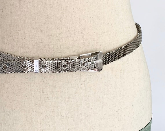 Silver Metal Mesh Belt Whiting and Davis Signed Designer Belts Vintage 80s Women's Evening Accessories Size S M