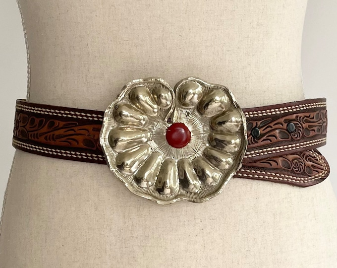 Boho Silver Buckle Tooled Leather Belt Strap Vintage Silver Tone Metal Red Stone Scalloped Edges Floral Leather Strap