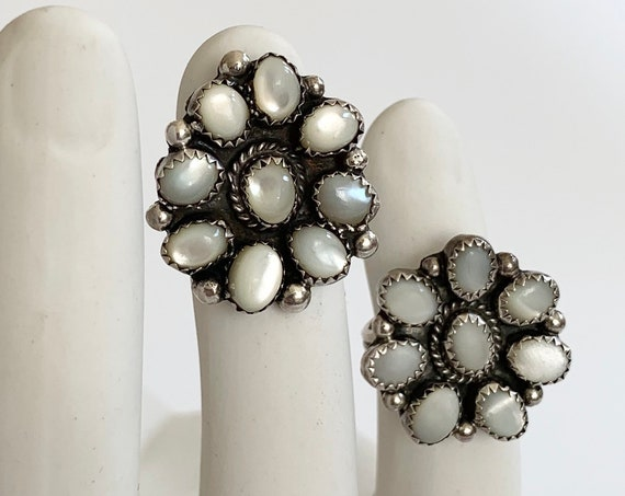 Navajo Moonstone Cluster Ring Vintage Native American Hand Crafted Sterling Silver White Stone Floral Radial Flower