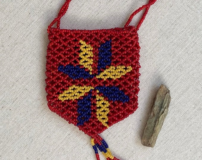 Glass Beaded Pouch Necklace Vintage Native American Beadwork Red Blue Yellow