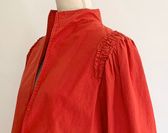 Little Indian Cotton Jacket Faded Red All Cotton Made in India Vintage 80s Jacket Coat Shirt Ruched Shoulder Detail  XS/S
