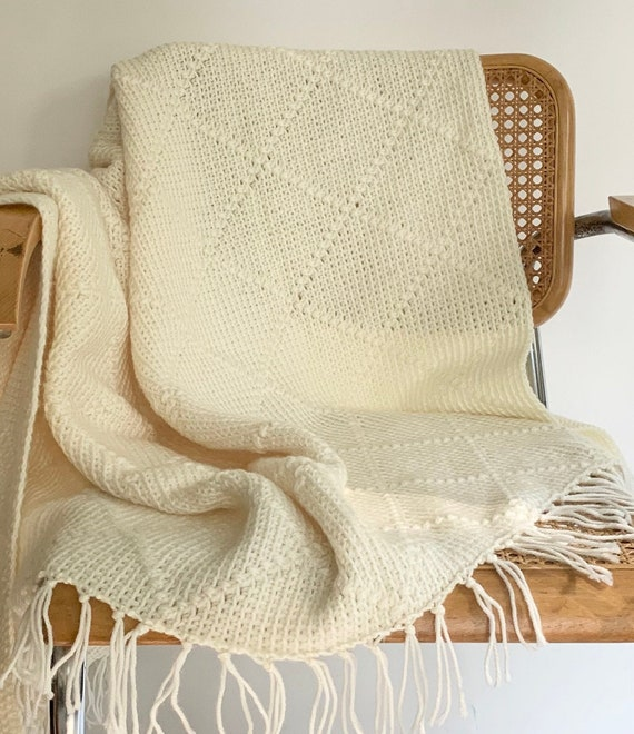 White Hand Crochet Throw Blanket Afghan Handmade Hand Knit Vintage Natural White Cream Diamond Weave Fringe Edges