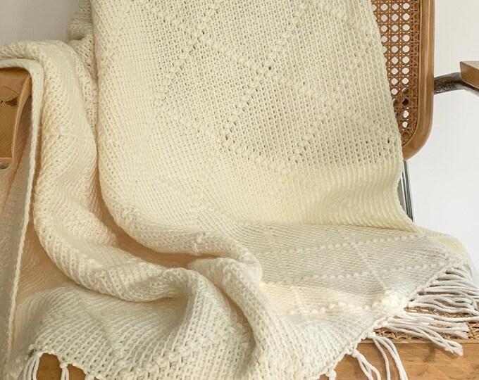 White Hand Crochet Throw Blanket Afghan Handmade Hand Knit Vintage Natural White Cream Diamond Weave Fringe Edges