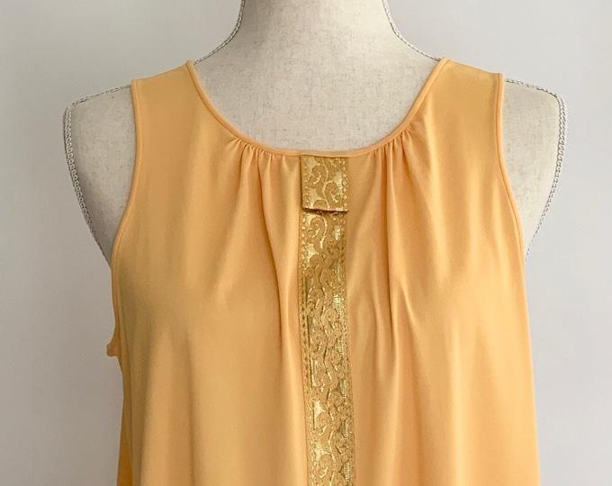 60s Marigold Sleeveless Nightgown House Day Dress Vintage Lorraine Lingerie Soft Nylon Sleepwear Gold Brocade Detail Along Front XS S