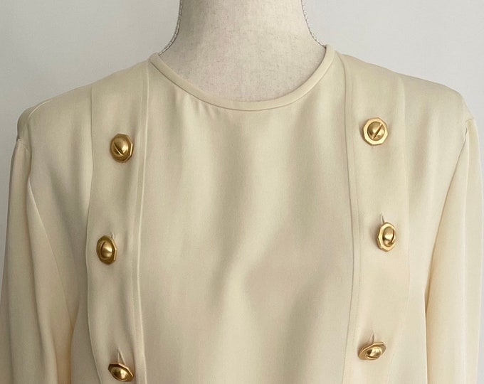 80s Anne Klein Silk Blouse Ivory White with Gold Buttons American Designer Made in Hong Kong Minimalist Sailor Style S M