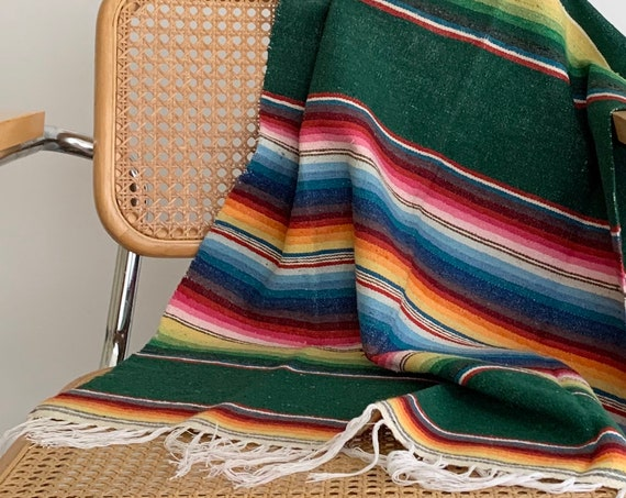 Mexican Serape Throw Blanket Vintage Hand Woven Cotton Made in Mexico Striped Green Southwest Home Decor