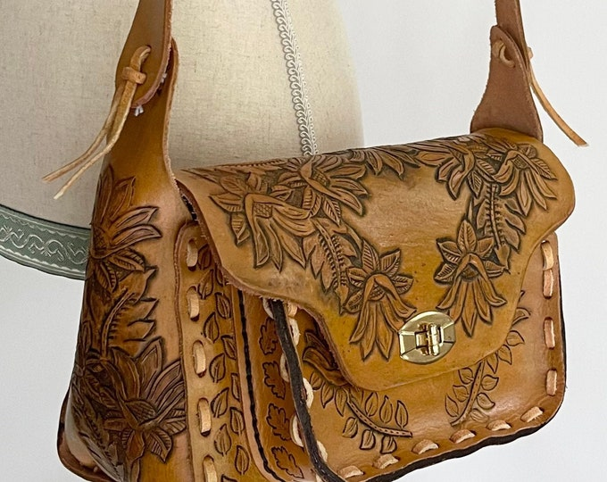 Handcrafted Tooled Leather Bag Purse Signed by J.F. O'Donnell  Hand Tooled Vintage Brown Tan Flower Floral Stitching Details