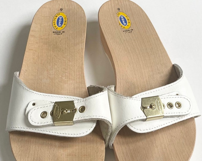 Dr. Scholl's Leather Clogs Made in Italy Vintage White Leather Wood Soles Women's Slip On Slides Sandals Excellent Condition Size 9