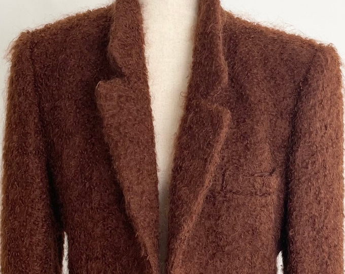 70s Anne Klein Jacket Blazer Made in USA Workers Union Vintage Soft Brown Mohair Fully Lined XS