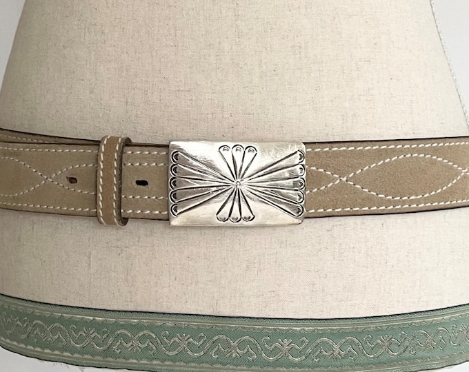 Navajo Sterling Silver Buckle Belt Western Hand Finished Suede Leather Strap Native American Handmade Stamped Buckle
