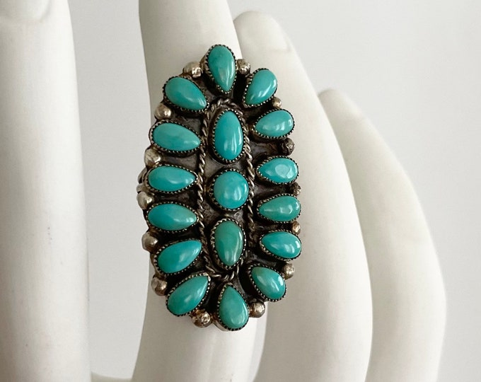 Huge Turquoise Cluster Ring Vintage Old Antique Native American Sterling Silver Floral Flower Radial Petit Point Size 10