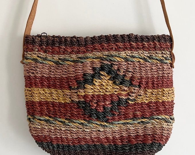 Small 80s Sisal Bag Purse Leather Straps Vintage Waves California Blush Beige Indigo Ochre Summer Beach Bag Straw Jute