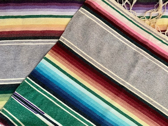 Mexican Serape Throw Blanket Vintage 60s Hand Woven Saltillo Striped Faded Gray Blue White Green Southwest Home Decor