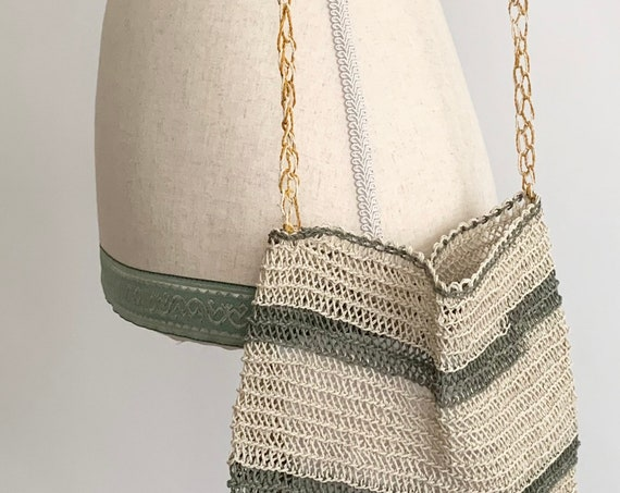 Boho Open Weave Bag Purse Vintage Open Knit Striped Natural White Beige Sage Green Summer Minimalist Purse Braided Strap Small Size