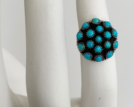 Zuni Turquoise Cluster Ring Vintage Native American 17 Stone Petit Point Dome Ring Old Pawn Jewelry Floral Radial Size 6