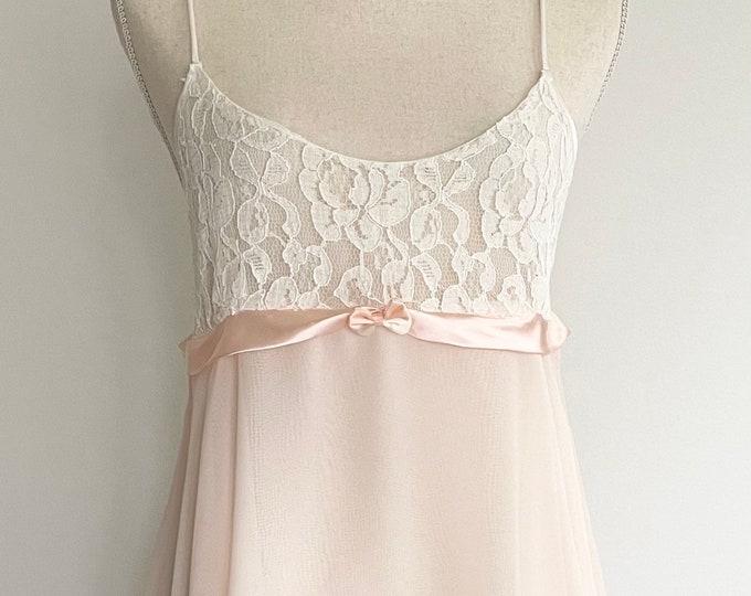 Airy Victoria's Secret Nightie Vintage 80s VS Ivory Lace Bodice Ballet Pink Chiffon Skater Skirt Spaghetti Straps Valentines Gift Size XS