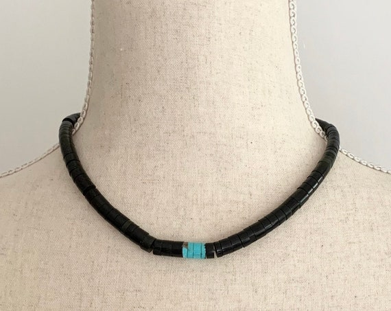 Jet Turquoise Heishi Necklace Choker Vintage Native American Graduated Beads Beaded Sterling Silver Beads