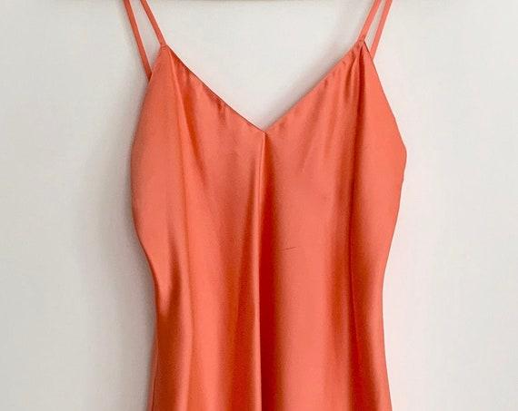 Henri Bendel Silk Nightie 80s 90s Vintage Andres for Henri Bendel Salmon Orange Minimalist Sexy Sleepwear Made in USA Size XXS XS