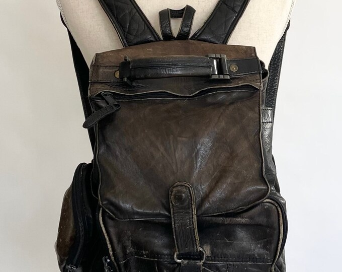 Worn Black Leather Backpack Very Distressed Soft Matte Black Leather Vintage Gonari Made in Columbia Pockets Drawstring Closure