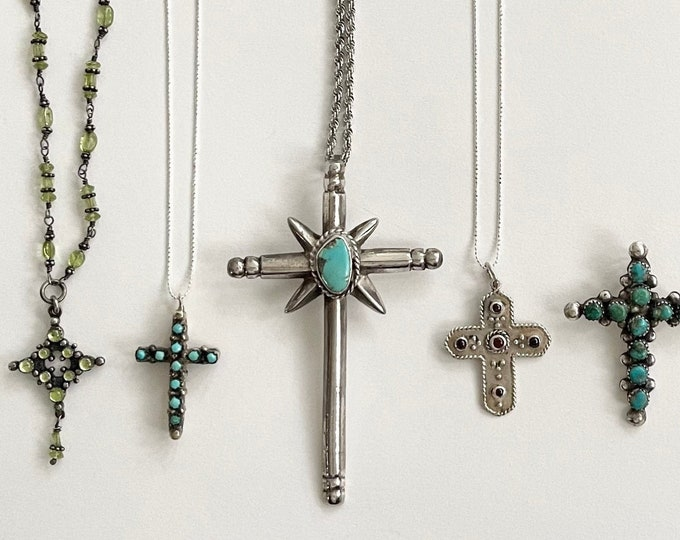 Native American Cross Pendant Necklace Sterling Silver Navajo Zuni Turquoise Red Coral Peridot Vintage Stacking Necklaces