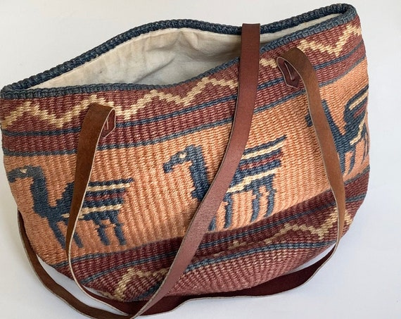 Vintage Sisal Straw Bag Purse Leather Straps Beige Brown Blush Pegasus Design Market Beach Bag Tote Cotton Canvas Lined