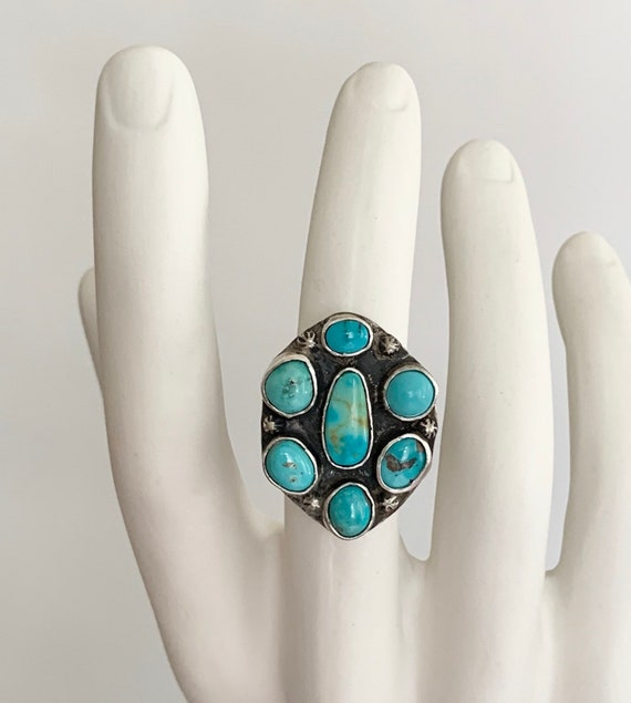 Mens Turquoise Cluster Ring Sterling Silver Vintage 50's Native American Navajo Big Huge Radial Mens Rings Size 10.5