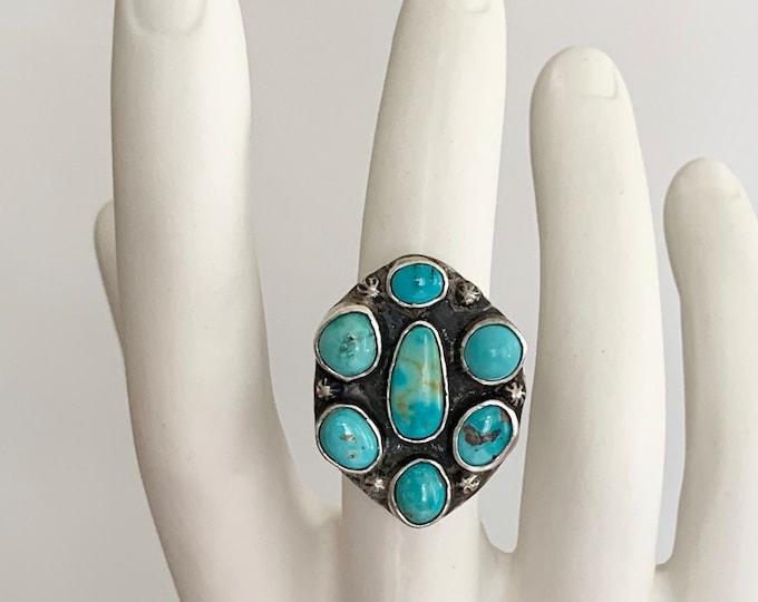 50s Turquoise Cluster Ring Sterling Silver Vintage Native American Navajo Big Huge Radial Mens Rings Size 10.5