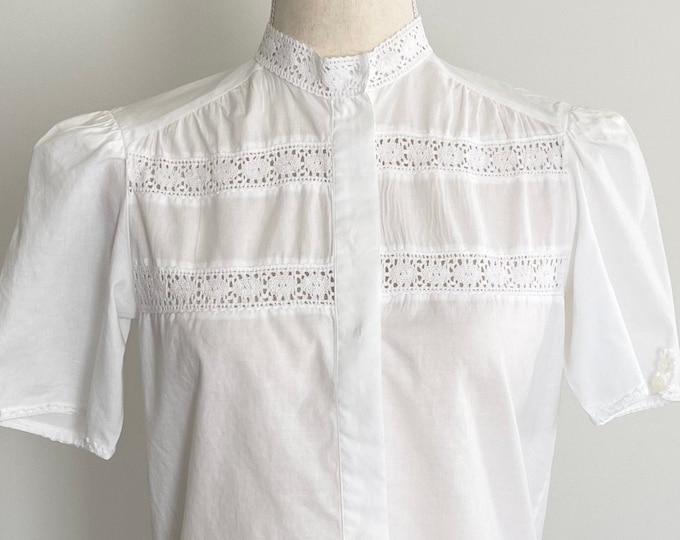 White Short Sleeve Shirt Crochet Inset Panels and Neckline Soft Lightweight Cotton Button Up Blouse Top High Mock Neck XS