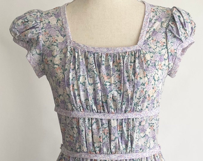 Jane Schaffhausen Prairie Dress Pastel Floral Puff Cap Sleeve Vintage 70s Midi Length Boho Western 100% Cotton Hippie XXS/XS
