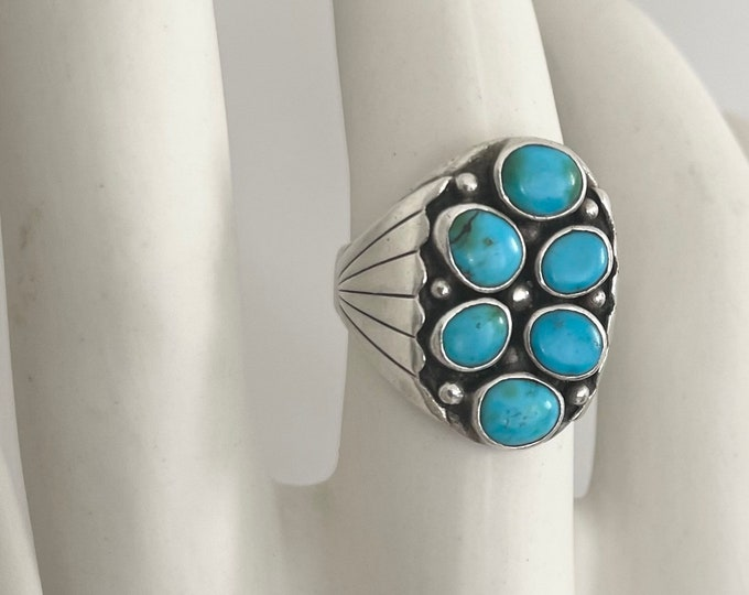 50s Navajo Turquoise Ring Sterling Silver Vintage Native American Wide Etched Band Signet Biker Style Mens Ring Size 11.5
