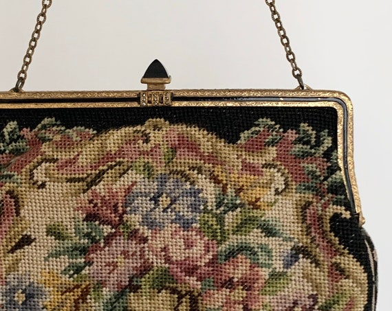 Needlepoint Tapestry Purse Clutch Victorian Black Floral Rose Onyx Clasp Gold Tone Frame Strap Blush Silk Lining Made in Austria