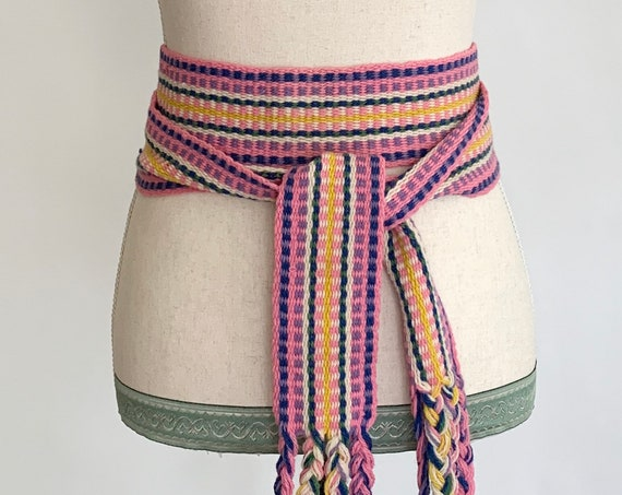 Handwoven Tie Waist Belt Vintage 70s Ethnic Boho Tribal Pink Festival Braided Wool Fringe Adjustable Waist