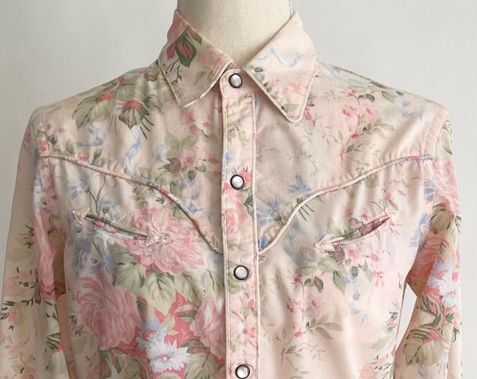 Ralph Lauren Western Shirt Snap Shirt Pink Floral Print 100% Cotton Vintage Lightweight Cotton Shirt with Snaps Women's XS
