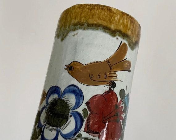 "Tonala Mexico Pottery Vase Vintage Mexican Studio Pottery Artist Signed M Bird Flowers Plants Glazed Tall 10.5"" Height"