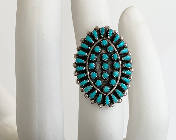 RESERVED Needlepoint Turquoise Cluster Ring Vintage Native American Zuni Artist Signed Rena Peina Sterling Silver Petit Point Oval Size 7.25