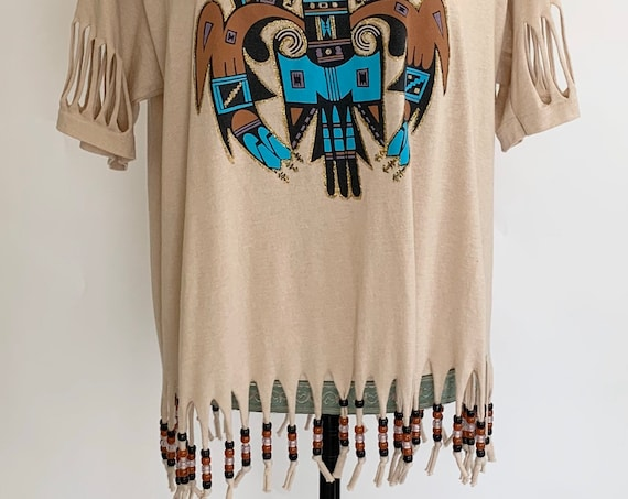 80s Southwest Fringe Tee T Shirt Tee Cotton Blend Vintage 80s Jerzees Made in USA Tribal Festival Beaded Fringe Hem Size S M