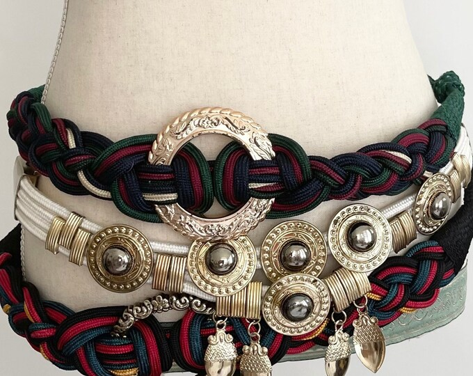 80s Embellished Cord Belt Braided Woven Nylon Cord Gold Tone Accents Vintage Disco Style Made in Taiwan Korea