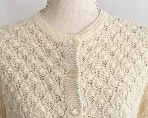 Vintage Ivory Cardigan Sweater Vintage British Vogue Wintuk Winter White Natural White Cream Open Knit Acrylic Womens Size S