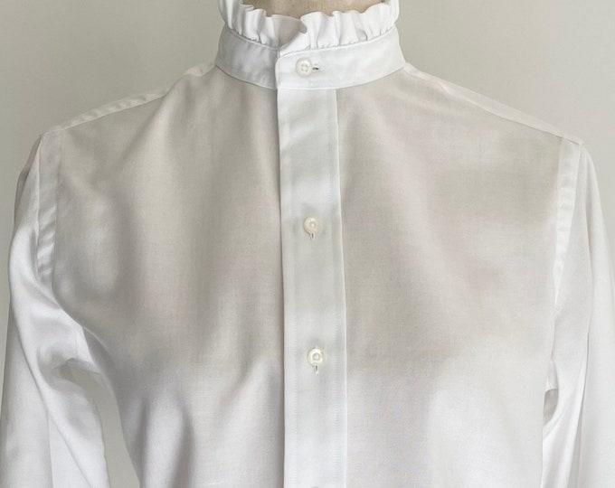 70s Victorian Style Prairie Shirt Top Blouse High Ruffle Neck Vintage 70s Ms Sero White Cotton Blend XXS XS